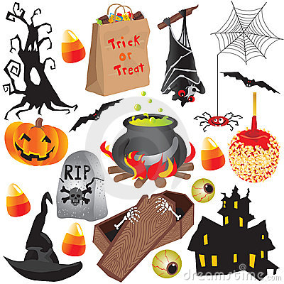 Halloween clip art party elements