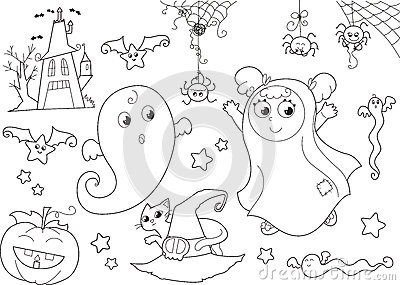 Halloween coloring set for little kids
