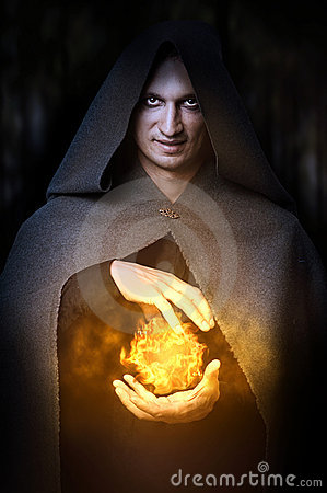 Free Halloween Concept. Male Wizard With Fireball Royalty Free Stock Photos - 20990828