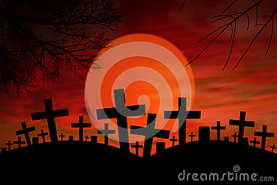Halloween cross graveyard under full moon