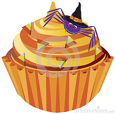 Halloween Cupcake Spider and Candy Illustration