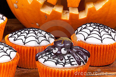 Halloween cupcakes with web