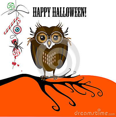 Halloween with cute owl, spider and candy