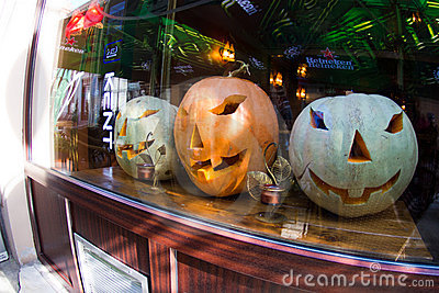 Halloween decorated window Editorial Stock Photo
