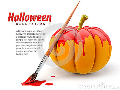 Halloween decoration with brush painting pumpkin