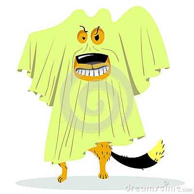 Free Halloween Dog Character In Ghost Costume. Cartoon Vector Illustr Royalty Free Stock Photos - 96737238