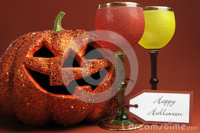 Halloween drinks with vintage gothic style goblets