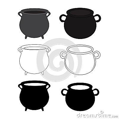 Free Halloween Empty Witch Cauldron, Pot Set. Cartoon Vector Illustration Isolated On White Background. Stock Image - 61048021