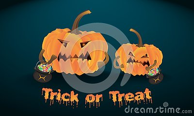 Halloween evil pumpkins stand with Vector Illustration