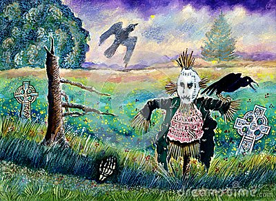 Halloween Field with Funny Scarecrow Skeleton Hand and Crows