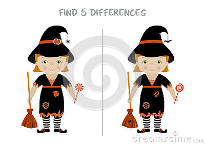 Halloween Spot The Difference Game For Kids Stock Vector - Image ...