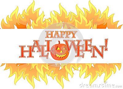 Halloween fire banner illustration design