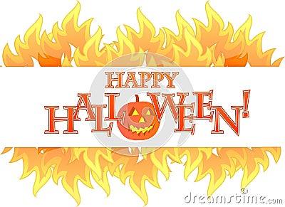 Halloween fire banner illustration design