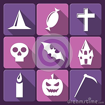 Halloween flat vector icons with long shadow. Set