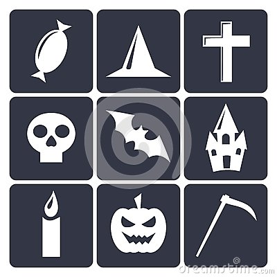 Halloween flat vector icons. Set 1