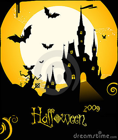 Halloween flyer background with castle and bats
