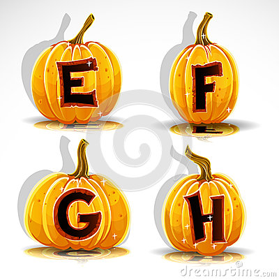 Halloween font cut out pumpkin letter E,F,G,H