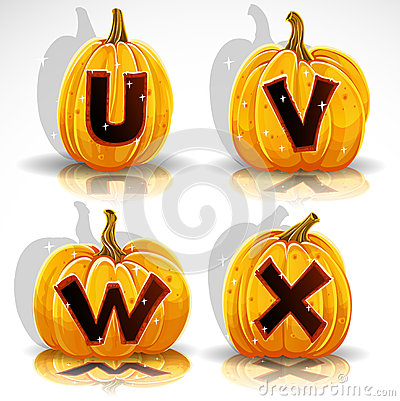 Halloween font cut out pumpkin letter U,V,W,X