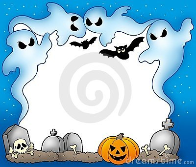 Halloween frame with ghosts 2