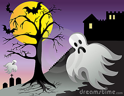 Halloween Ghost Bats Castle Graves at Night