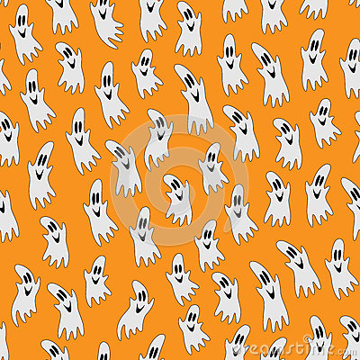 Free Halloween Ghost On Orange Background Stock Photography - 60770682