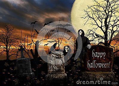 Halloween Ghosts Cemetery Bats