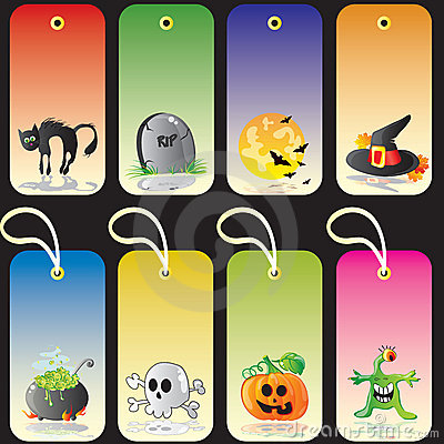 Halloween Gift Box With Tag Stock Vector - Image: 60974276