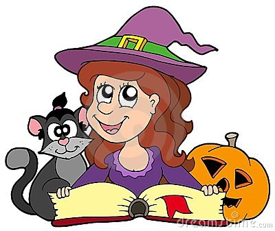 Halloween girl reading book