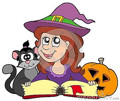 Halloween girl reading book