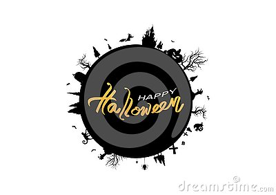 Halloween, globe circular design, poster logo banner vector, calligraphy letter, greeting card, party invitation silhouette Vector Illustration