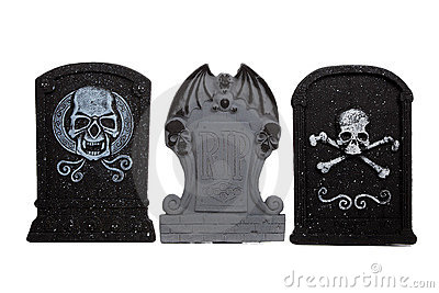 Halloween grave stones on a white