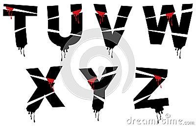Halloween grunge alphabet