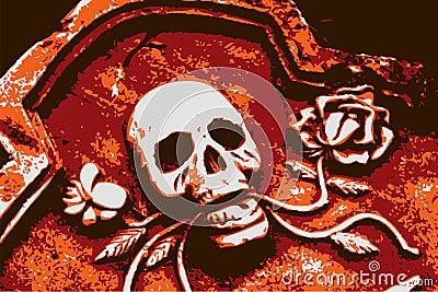 Halloween grunge orange skull