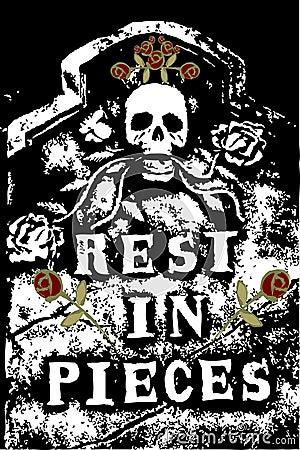 Halloween grunge RIP skull