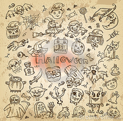 Halloween. Hand-drawn icons