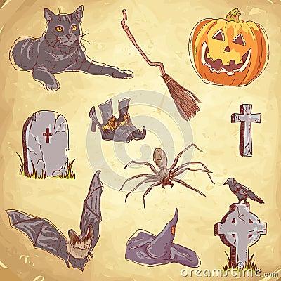 Halloween handdrawn vintage collection