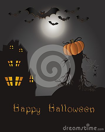 Halloween Happy card - bat pumpkin spider web hous