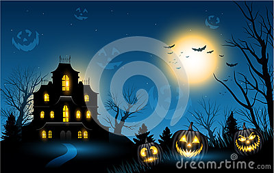 Halloween haunted house copyspace background Vector Illustration