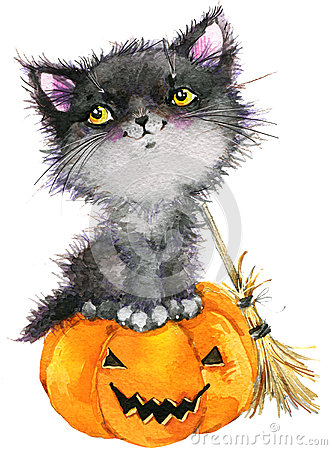 Free Halloween Holiday Little Cat Witch And Pumpkin. Watercolor Illustration Stock Images - 59582704