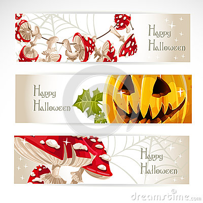 Halloween horizontal banner. With Jack and amanita