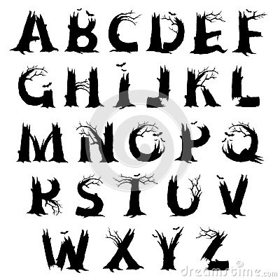 Stock Illustration Halloween Horror Alphabet Letters Spooky Letter Designs Black Silhouette Leafless Gnarled Old Tree Trunks Branches Image45233180 on scary halloween music and sounds free