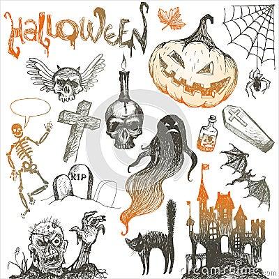 Halloween and horror hand drawn set