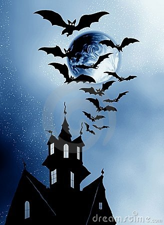 Halloween. House and bats.