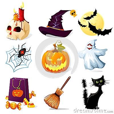 Halloween icons Vector Illustration