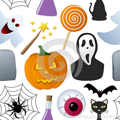 Halloween Icons Seamless Pattern