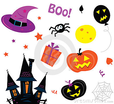 Free Halloween Icons Set Isolated On White Stock Images - 16194024