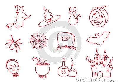 Halloween icons stroke