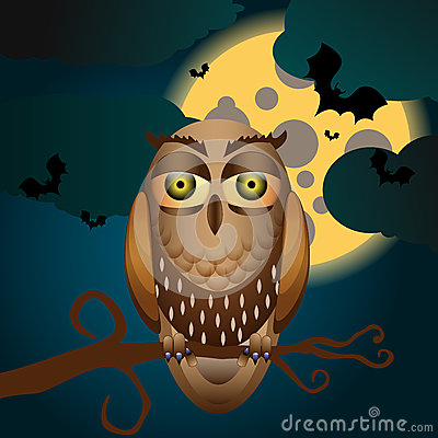 Halloween illustration with full Moon and owl