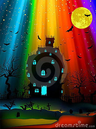Halloween Image With Old Mansion. EPS 8 Stock Photo - Image: 20310580