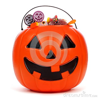 Free Halloween Jack O Lantern Candy Pail Over White Stock Image - 99072101